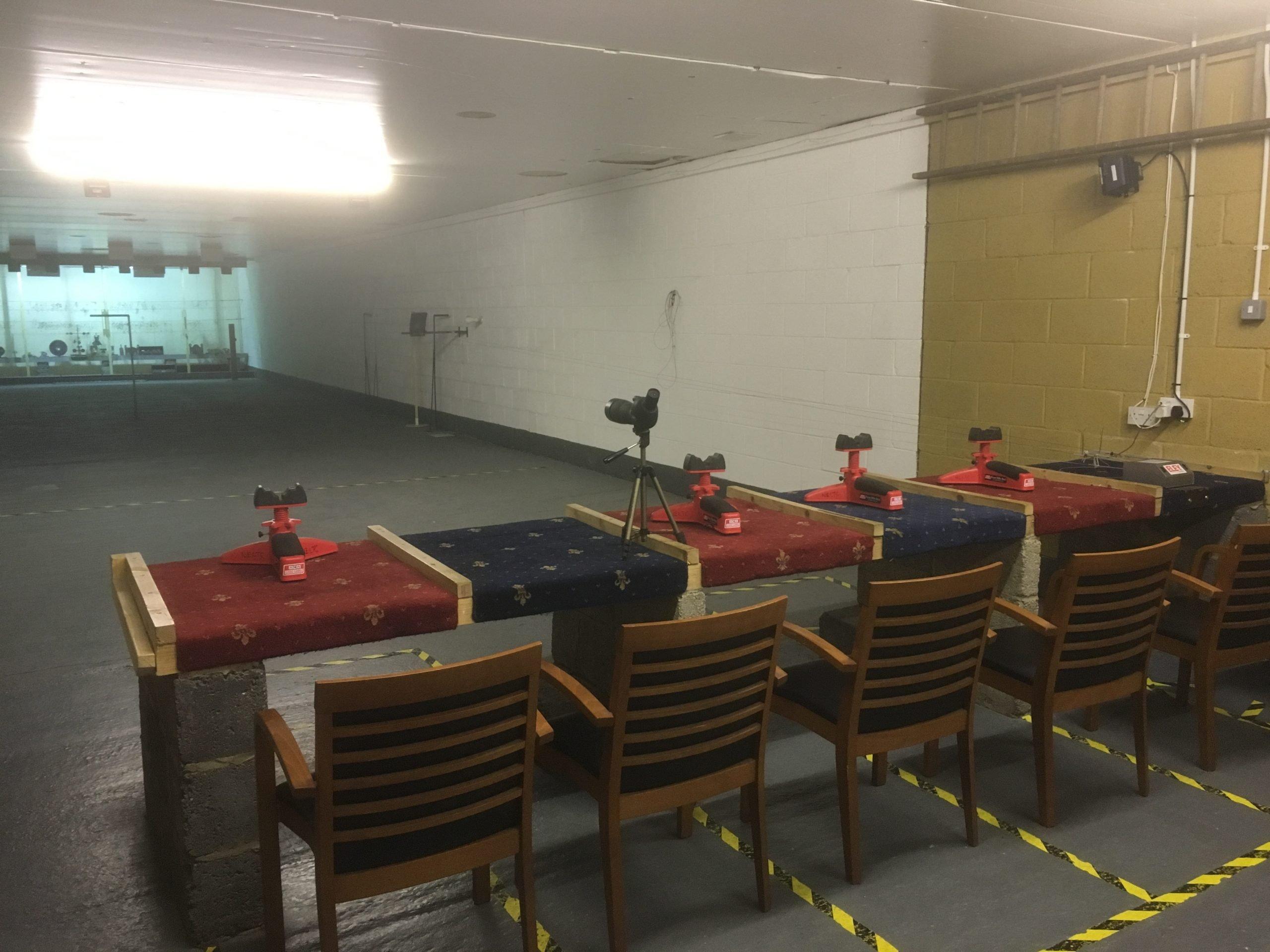 Seated indoor target range at NE Lincs Target Club
